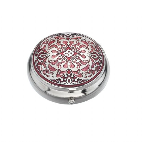 Pillbox Silver Plated Arabesque Design Red Brand New and Boxed